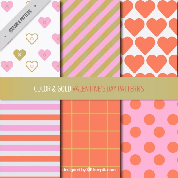Pack of six valentine's day patterns with golden details Free Vector
