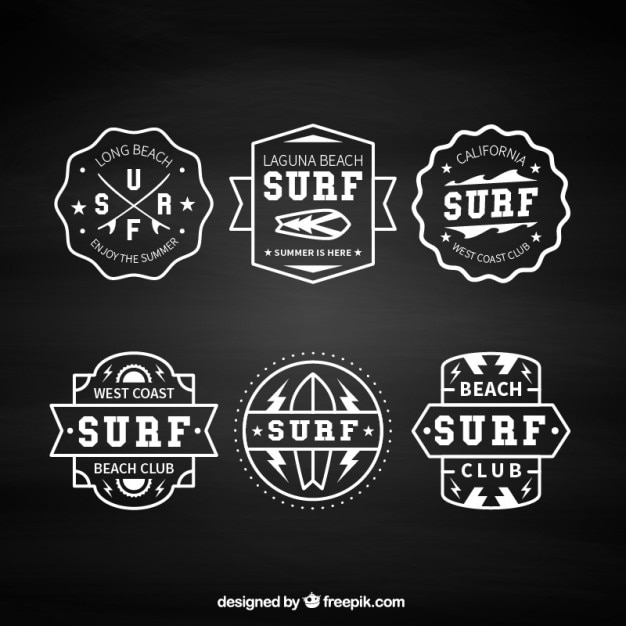 Pack Of Six Vintage Surf Badges Free Vector