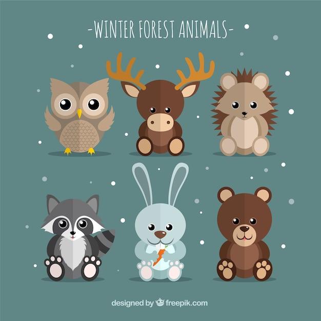 Pack of six winter animals