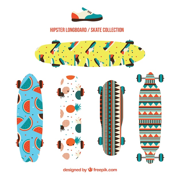 Pack of skateboards with enjoyables\ designs