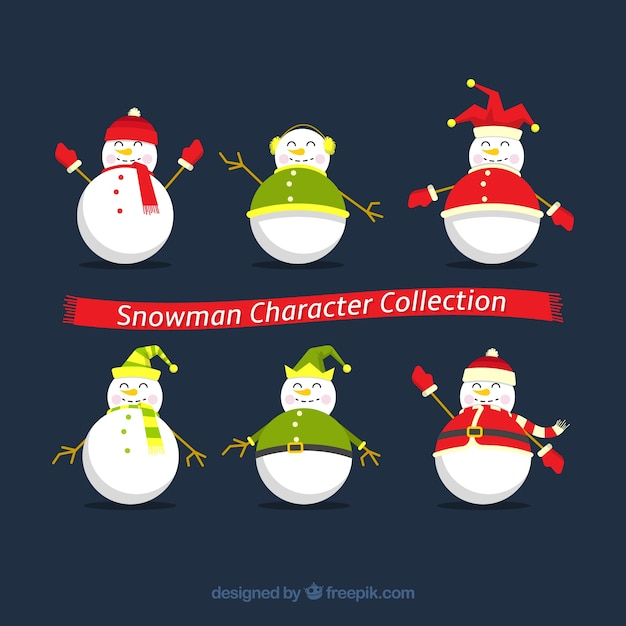 Pack of snowman characters in flat design