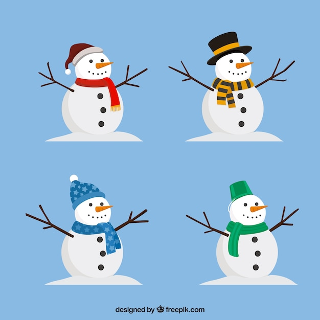 Pack of snowman with accessories Free Vector