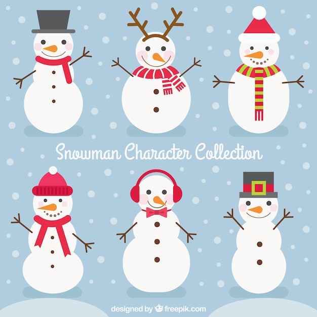 Pack of snowmen with accessories Free Vector