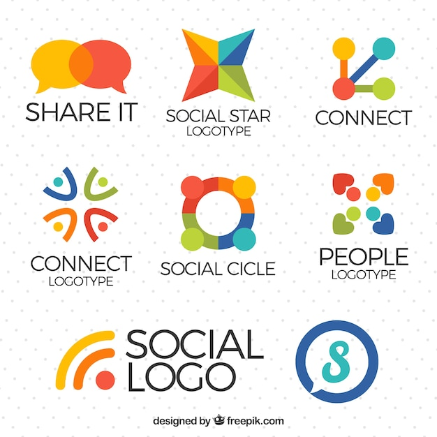 Pack of social media logos Free Vector