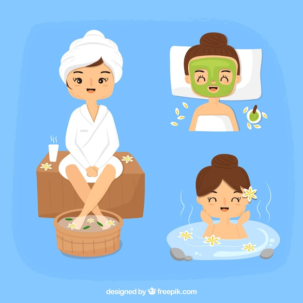 Pack of spa treatments Free Vector
