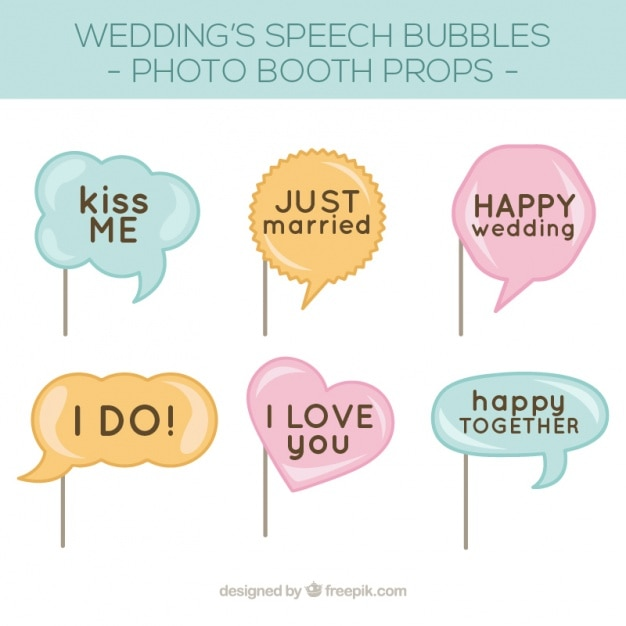 Pack of speech bubbles for wedding photo booth Vector | Free Download
