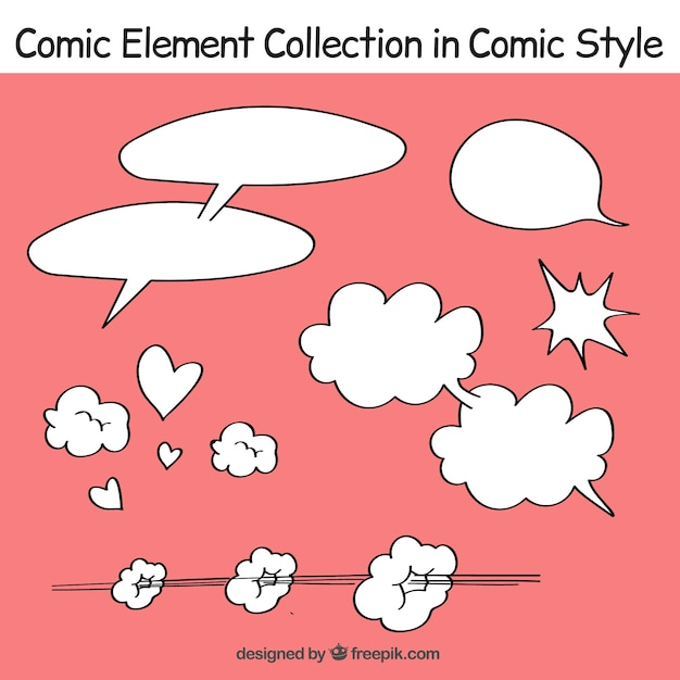 Pack of speech bubbles in comic style