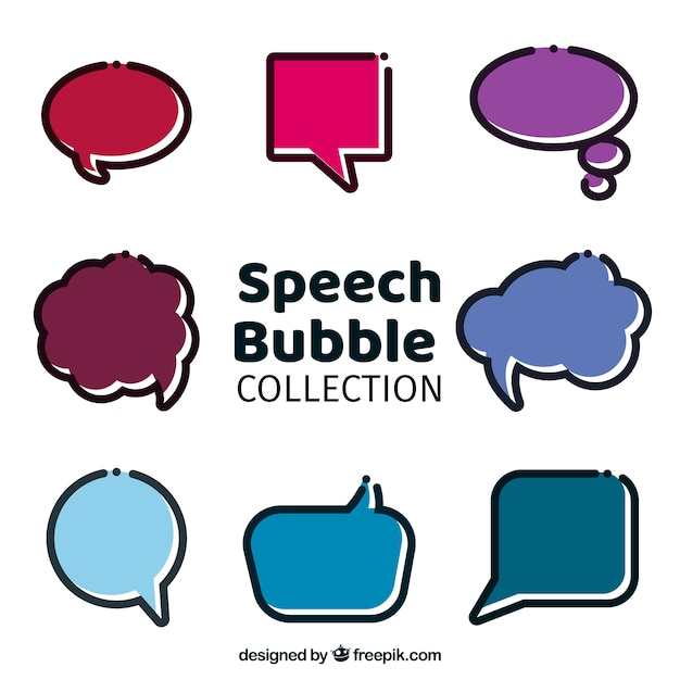 Pack of speech bubbles in linear style