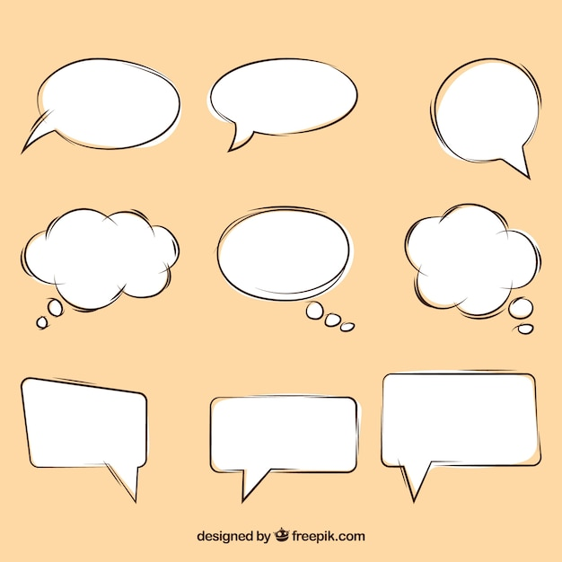 Pack of speech bubbles sketches