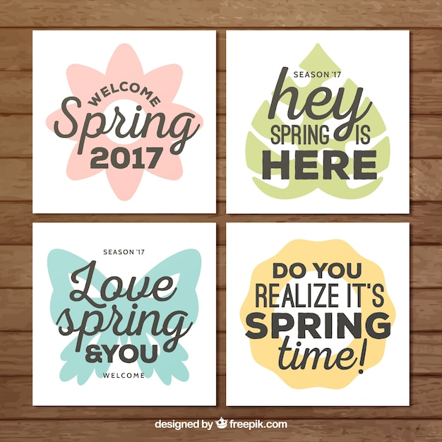 Pack of spring cards with messages vector free download pack of spring cards with messages free vector m4hsunfo