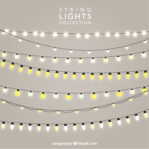 Pack of strings with illuminated bulbs Vector Free Download