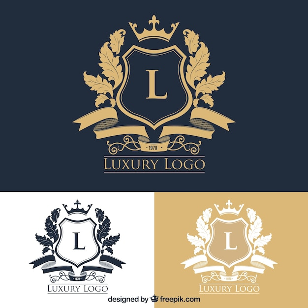Pack of stylish logos with crests Free Vector