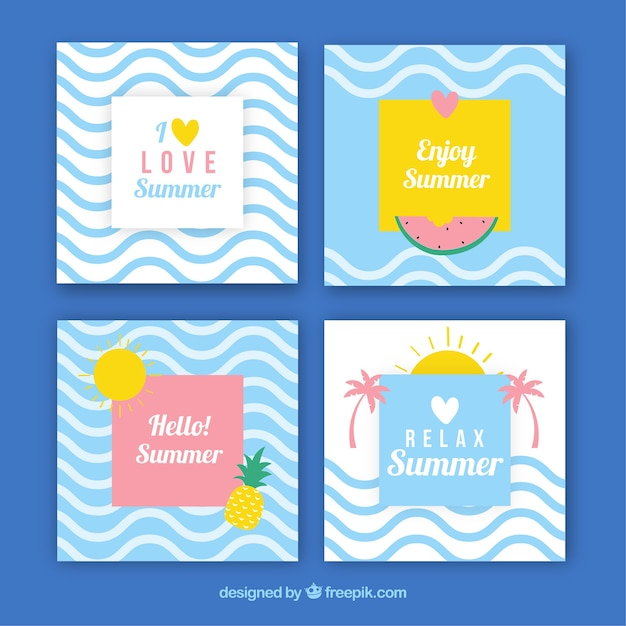 Pack Of Summer Cards With Waves Vector Free Download Rh Freepik Com Birthday Invitation Card Design Creative