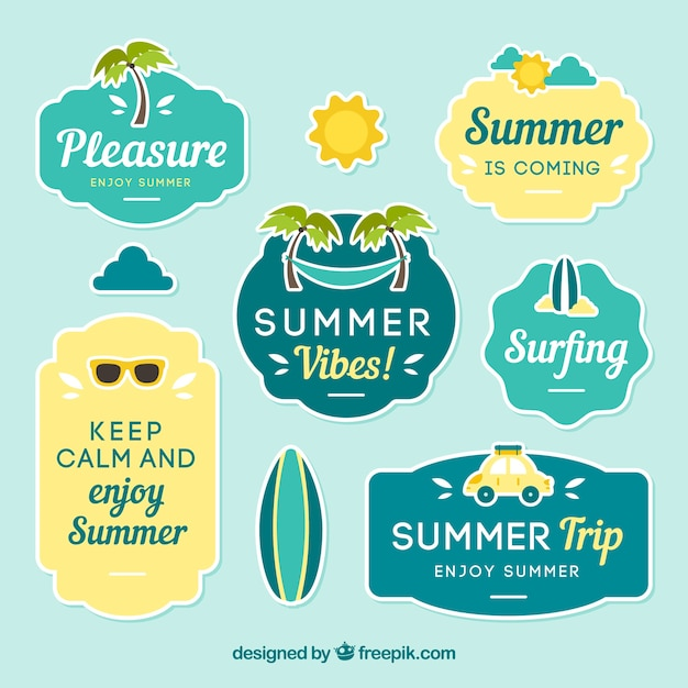 Pack of summer labels with decorative\ items