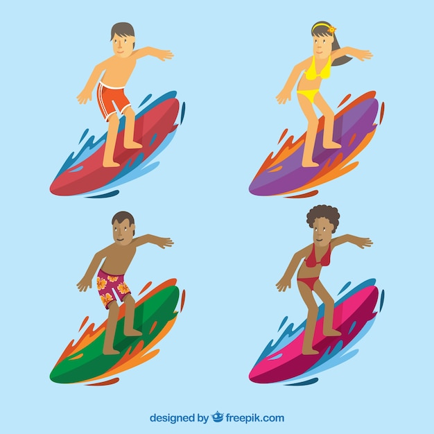 Pack of surfers with surfboards Free Vector