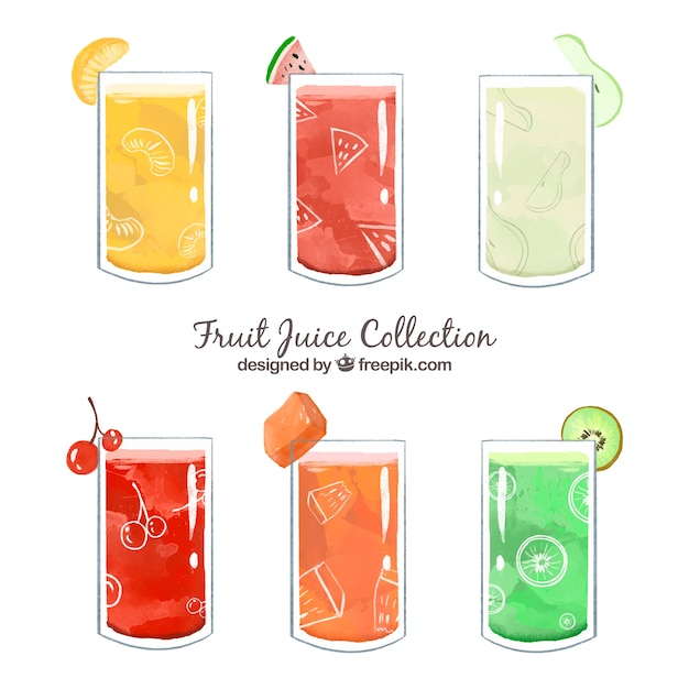 Pack of tasty fruit juices painted with\ watercolor