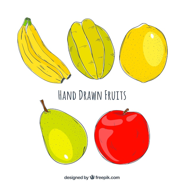 Pack of tasty fruits hand-drawn