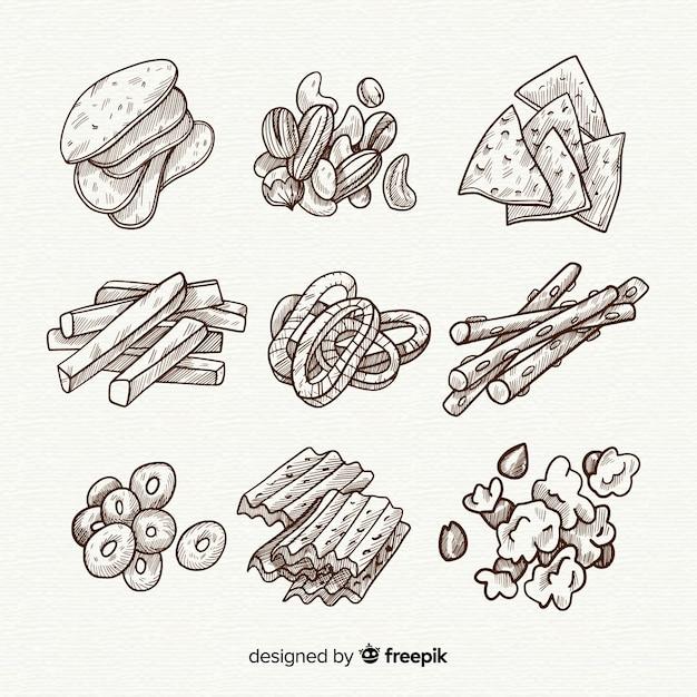 Пакет вкусных закусок Бесплатные векторы