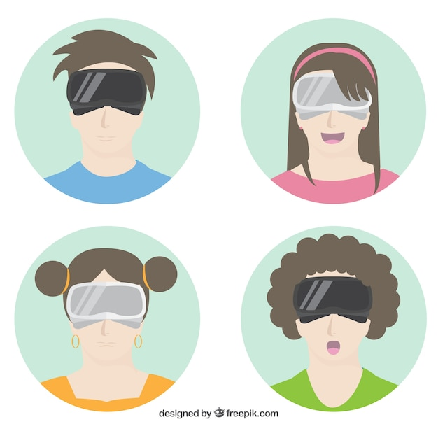 Pack of teenagers using virtual reality\ glasses