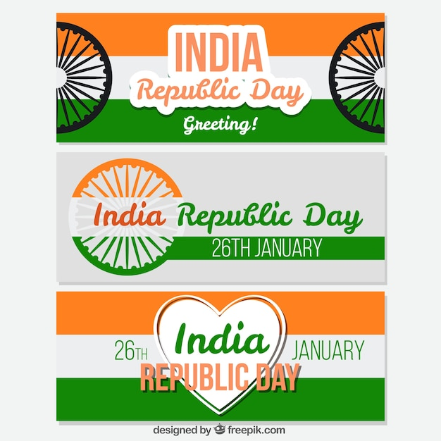 Pack of three banners for indian republic day