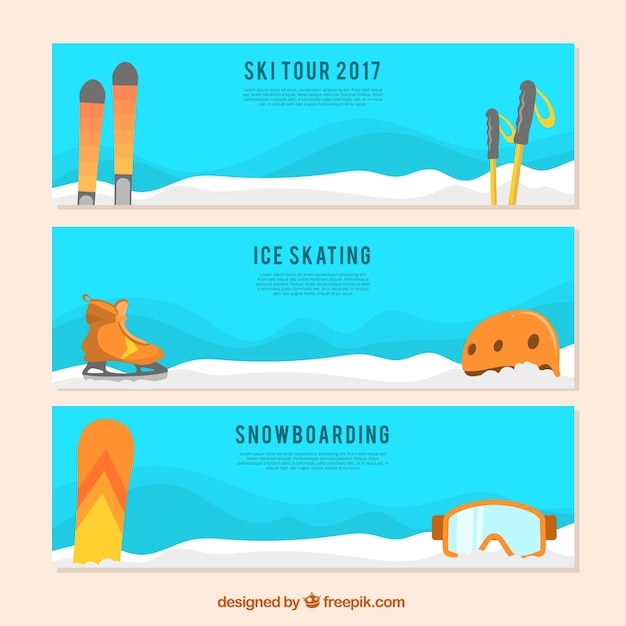Pack of three banners with winter sport\ equipments