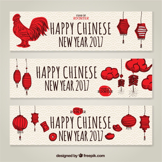 Pack of three chinese new year banners with\ hand drawn elements
