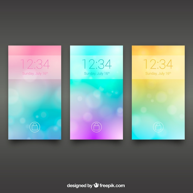 Pack of three colored blurred wallpapers for mobile