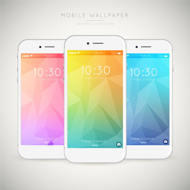 Pack of three colorful abstract wallpapers for mobile