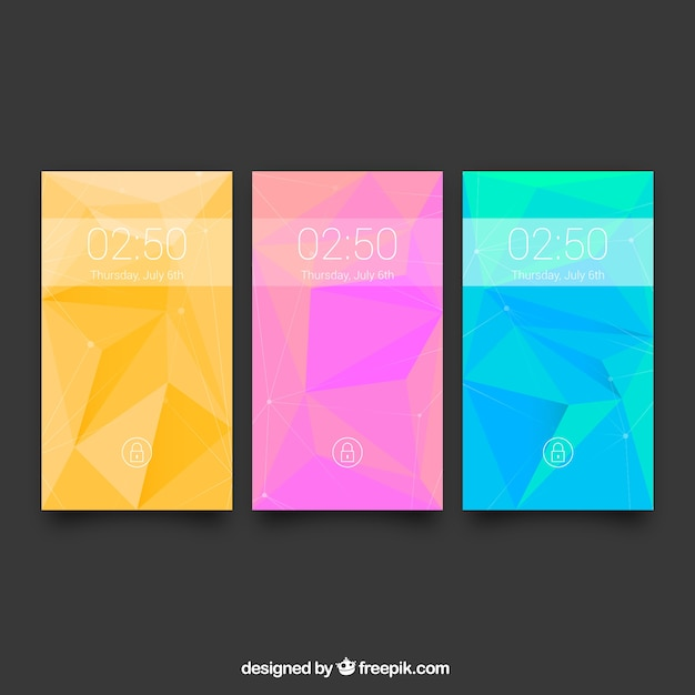 Pack of three colorful backgrounds for mobile with abstract shapes