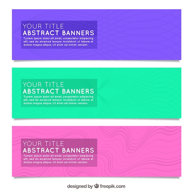 Pack of three colorful banners