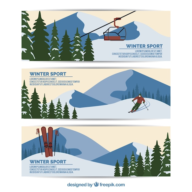 Pack of three flat banners with winter\ sports