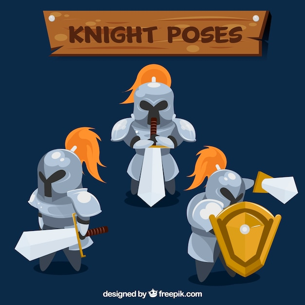 剣と盾で3人の騎士のパック 無料ベクター