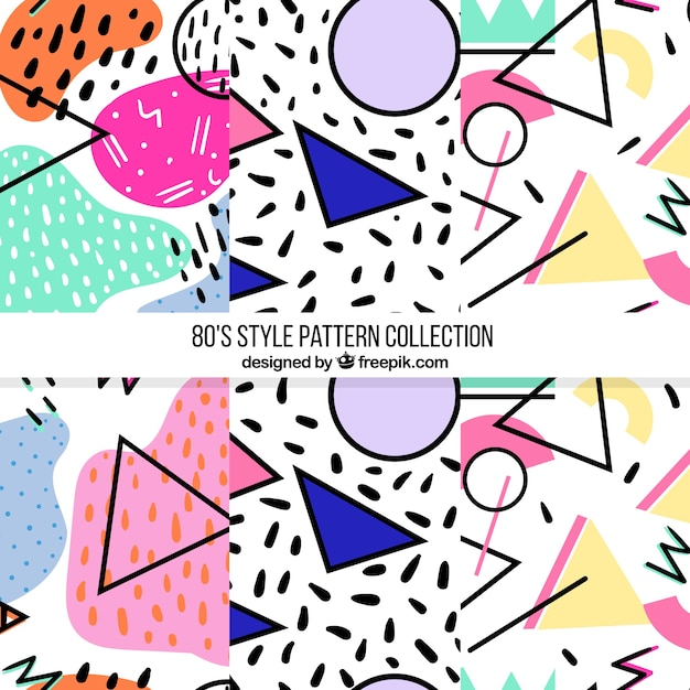 Pack of three modern patterns with colorful shapes Free Vector