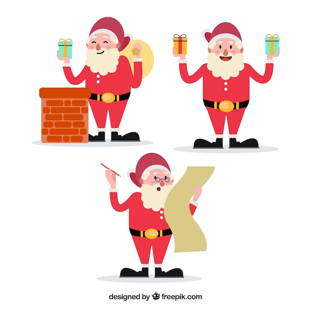 Pack of three santa claus characters with accessories