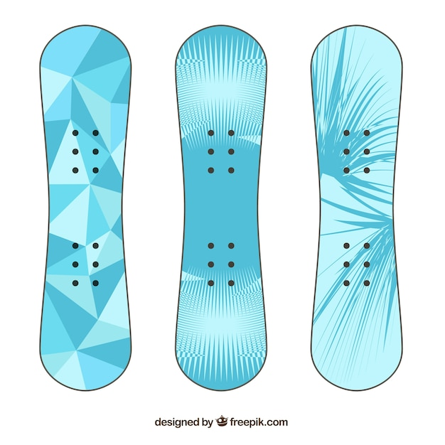 Pack of three snowboards in blue tones