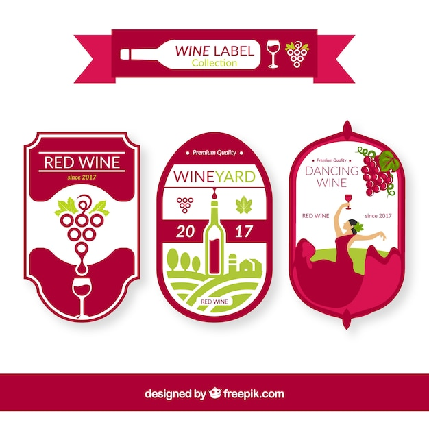 Pack of three wine labels with green\ details