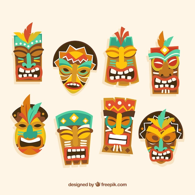 Pack of tiki masks in flat design Vector | Free Download