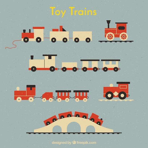 Pack of toy trains in flat design