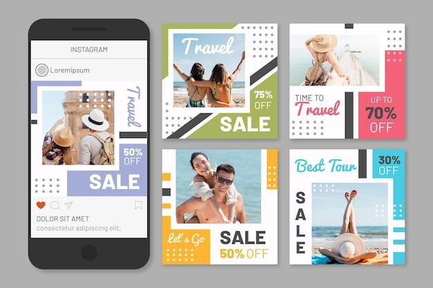 여행 판매 소셜 미디어 게시물 팩 프리미엄 벡터