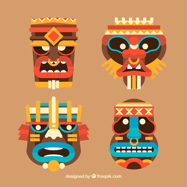 pack of tribal masks in flat design vector free download