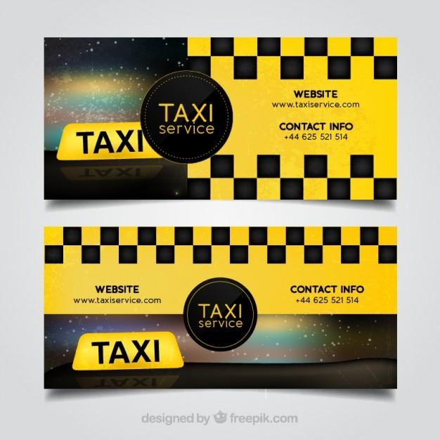 بسته دو بنر تاکسی زرد انتزاعی