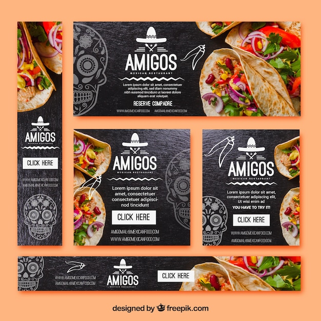 Pack of types of mexican food banners Free Vector