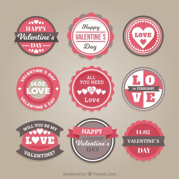 Pack of valentine round stickers in vintage style Free Vector