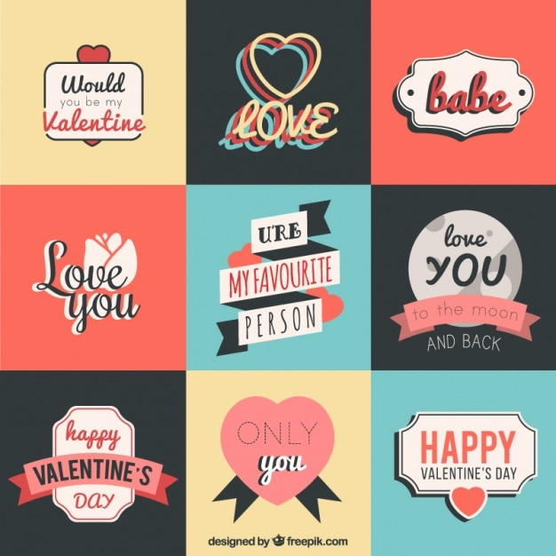 pack of valentine stickers with nice messages premium vector - Nice Messages