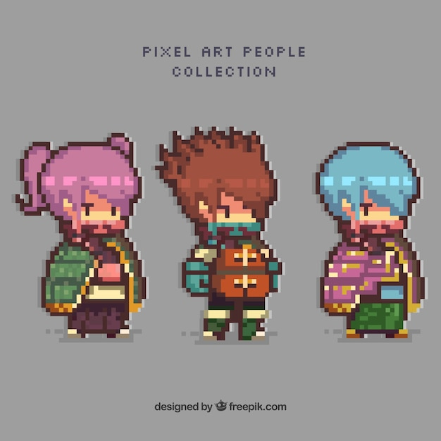 Pack Of Video Game Characters In Pixel Art Style Vector