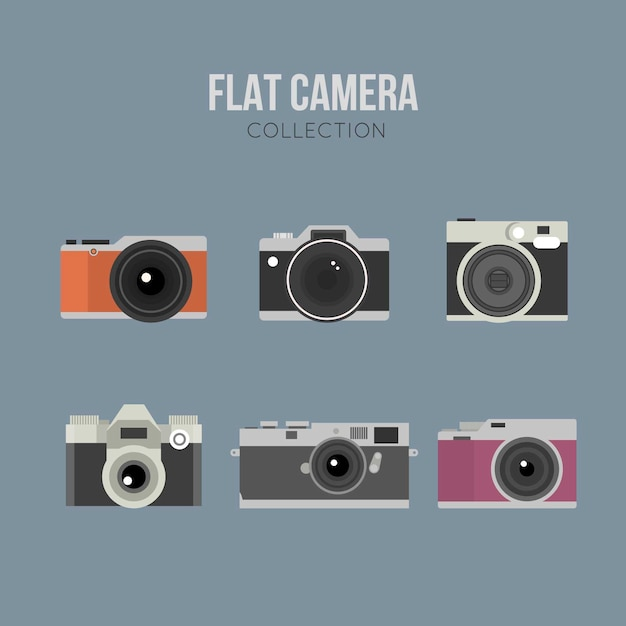 Pack of vintage and flat designed photo cameras
