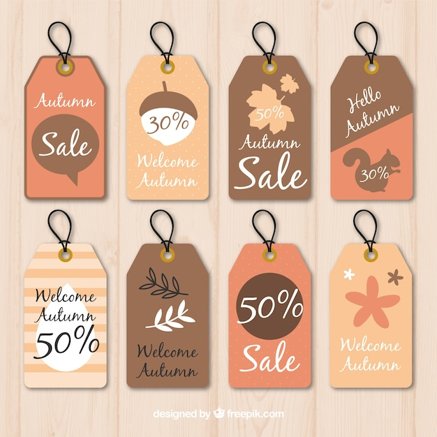 Pack of vintage autumn sale tags