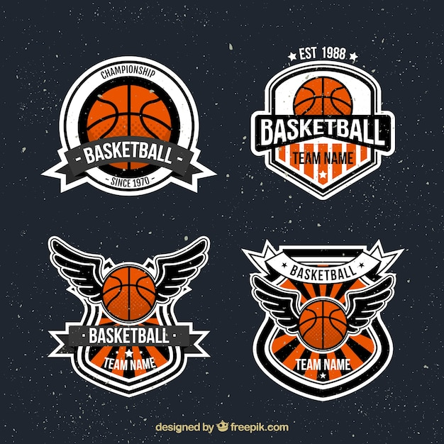 Pack of vintage basketball stickers Free Vector