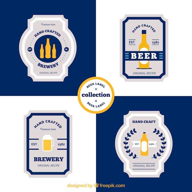 Pack of vintage beer stickers in flat design