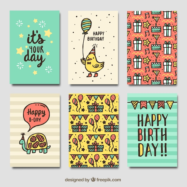 Pack Of Vintage Birthday Cards With Drawings Vector Free Download